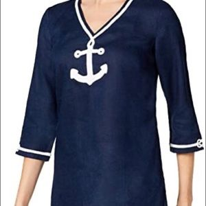 Charter Club Navy Blue Linen Embroidered Tunic